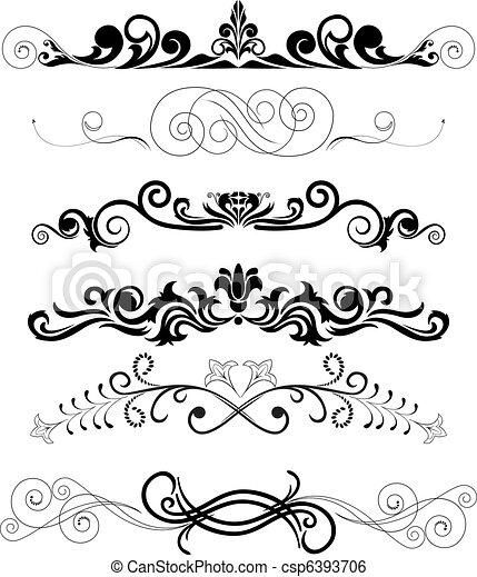 set, black , versieringen - csp6393706