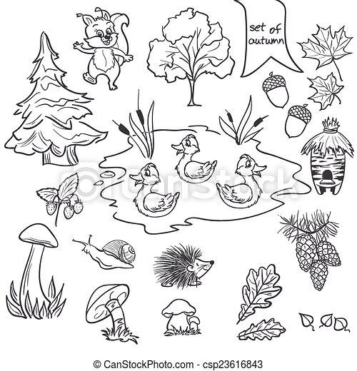 set bladeren bomen dieren paddestoelen herfst thema