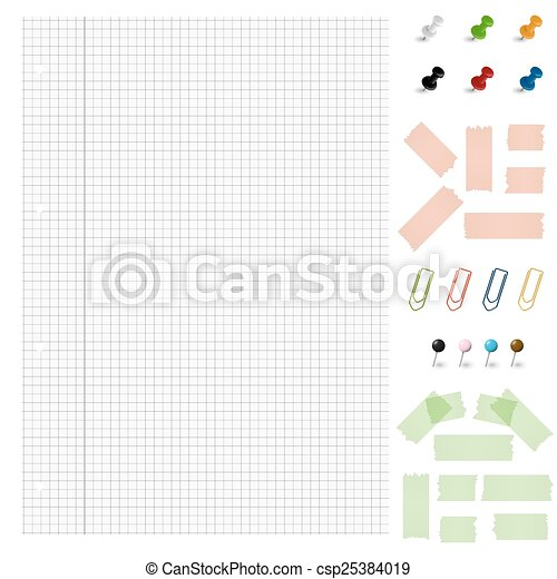 Set - Blank paper with office accessories - csp25384019