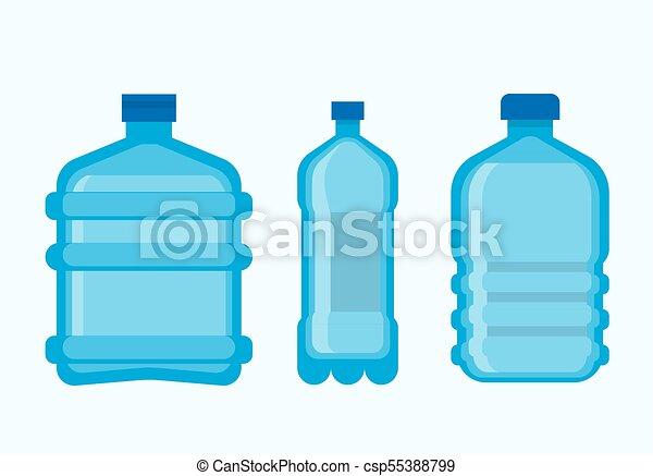 set, bottiglie, minerale, plastica, acqua, pulito, fresco - csp55388799