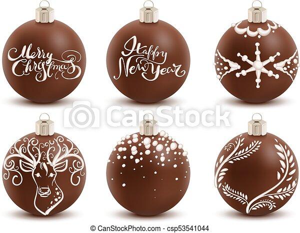 Set Brown Chocolate Christmas Ball Sweet Festive