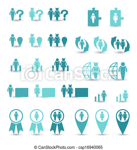 Set business icons, management and human resources - csp16940065