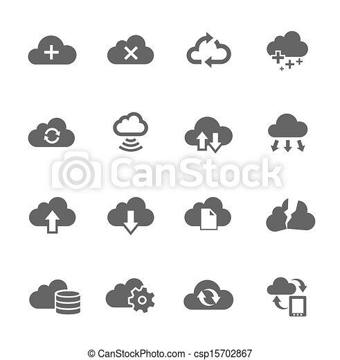 set, calcolare, semplice, relativo, nuvola, icona - csp15702867