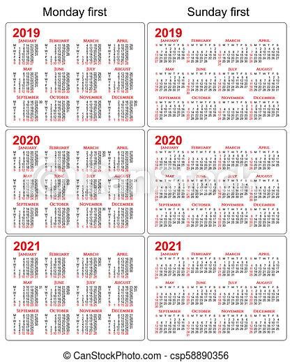 Calendario 2021 Con Festivita Da Stampare.Set Calendari 2021 Fondo 2019 2020 Bianco
