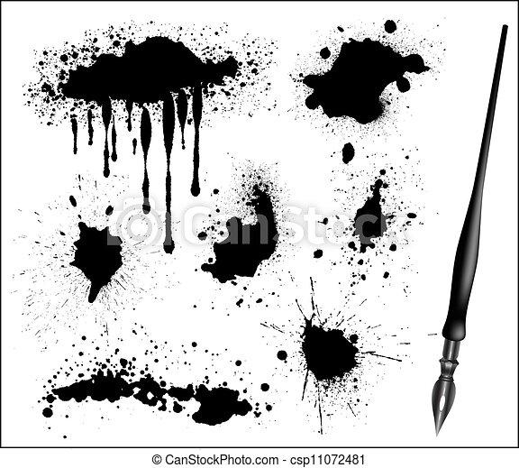 set, calligraphic, pen, zwarte inkt, splat - csp11072481