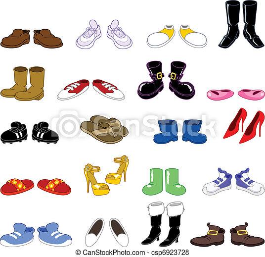 set, cartone animato, scarpe - csp6923728