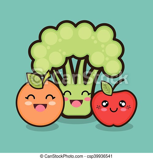 Set Cartoon Fruit Vegetable Design