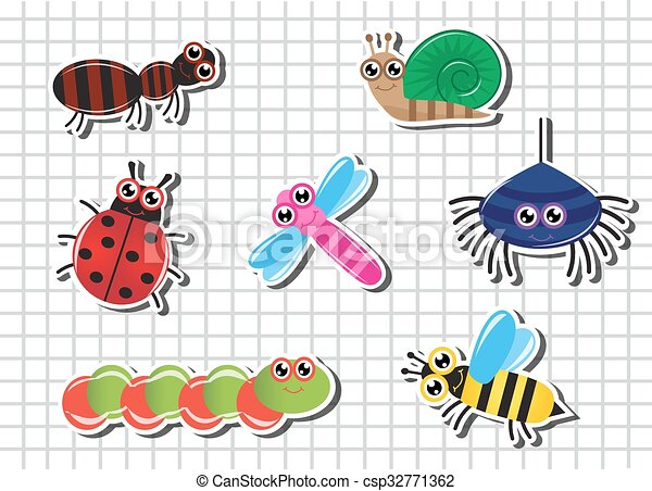 Set Cartoon insects - csp32771362