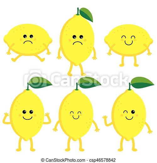 set cartoon lemons happy lemon cute fruit vector character set rh canstockphoto com cartoon lemon gif cartoon lemon image