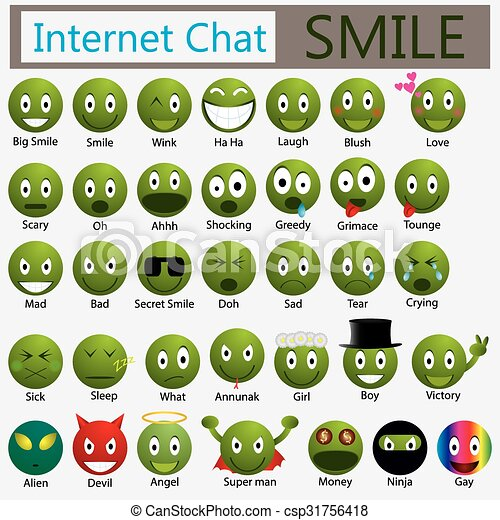 Set Chat Smile Chat Emotion Smile Icons Vector Set Style Bicolor