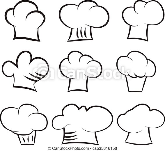 Set chef and cook hats set isolated on white background - csp35816158 94c009edd2fd