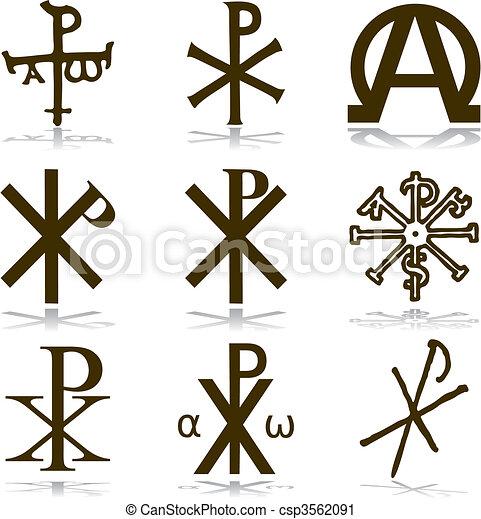 Set Christian Vector Various Religious Symbols Vector Clip Art