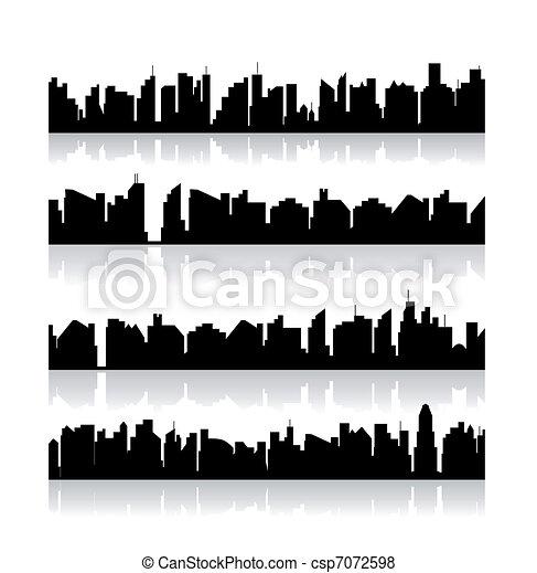 Set city silhouettes. Vector - csp7072598