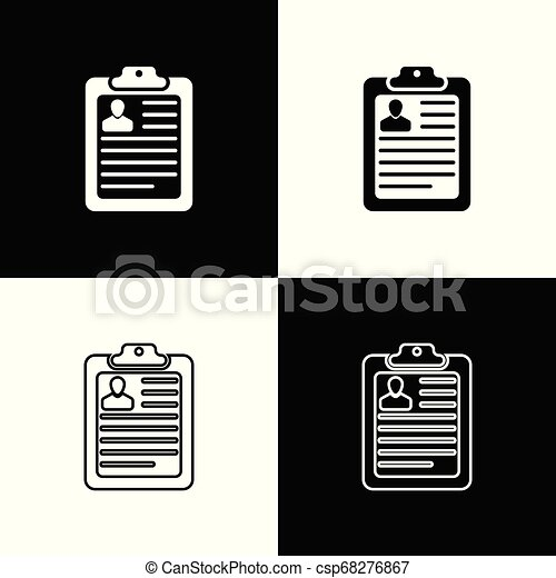 Set Clipboard With Resume Icons On Black And White Background Cv