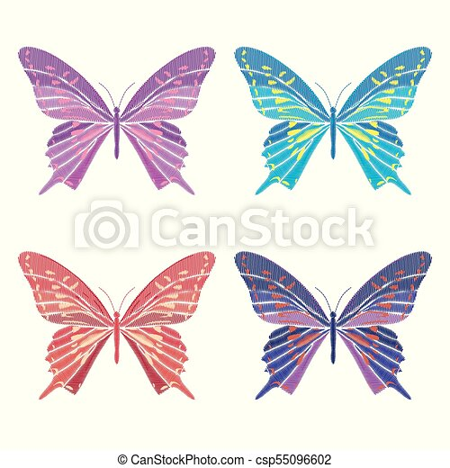 Set Collection Of Butterflies Isolated On White Background Vector