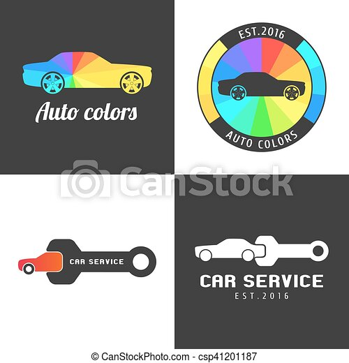 Set Collection Of Car Paint Car Parts Vector Icon Symbol Sign
