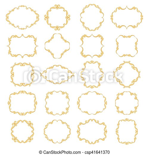 0e34f7c94363 Set collection of ornamental vintage frames. Set collection of empty ...
