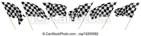 Set collection of waving black white chequered flag wooden stick motorsport sport and racing concept isolated background - csp74200082