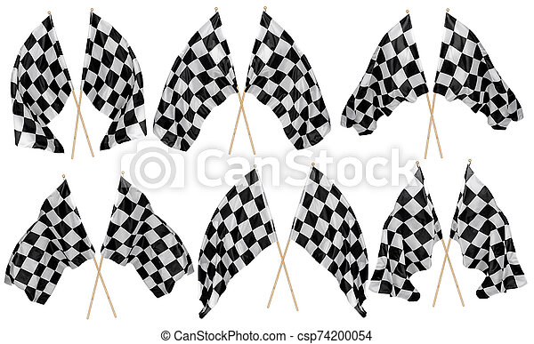 Set collection of waving crossed cross black white chequered flag wooden stick motorsport sport and racing concept isolated background - csp74200054