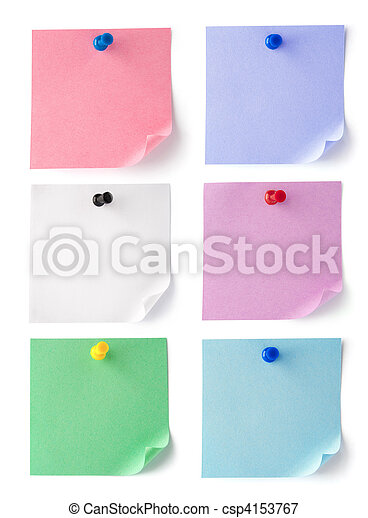 set color blank sheets of paper for notes - csp4153767