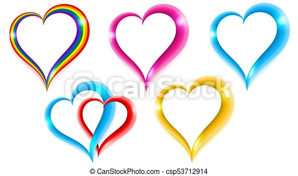 Set Color Heart Shape Symbol Of Love Isolated On White Vector
