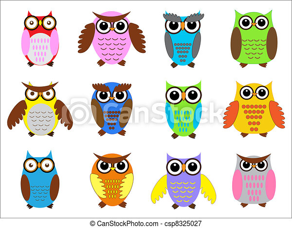set color owls vector