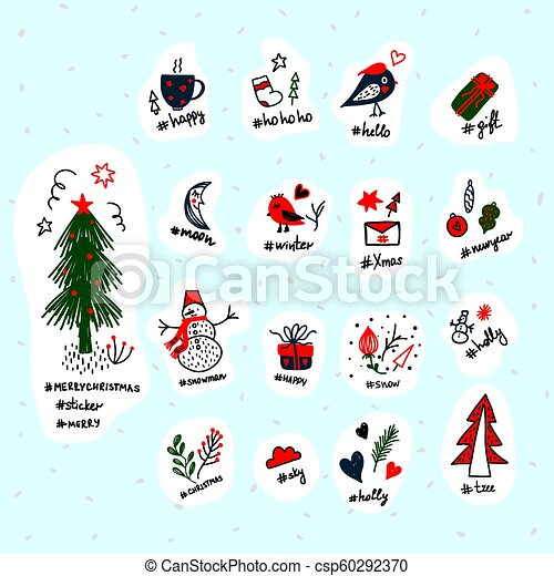 picture regarding Printable Christmas Stickers called Established coloured Xmas stickers range. Vector templates