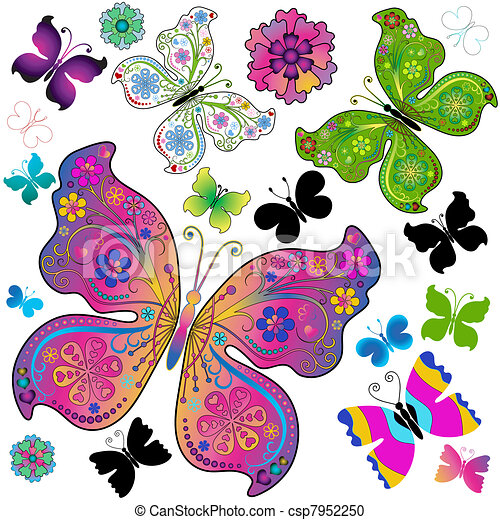 Set colorful and black butterflies  - csp7952250