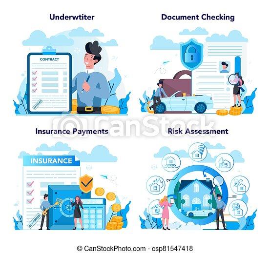 set., concepto, seguro, underwriter, financiero, caso, empresa / negocio, pago - csp81547418