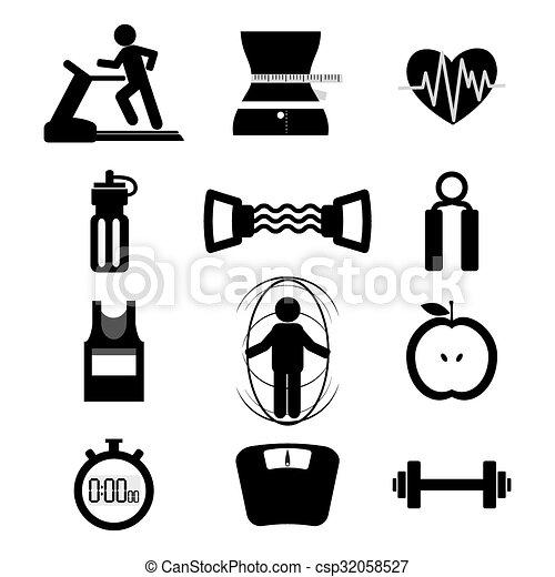 set., condicão física, ícone - csp32058527