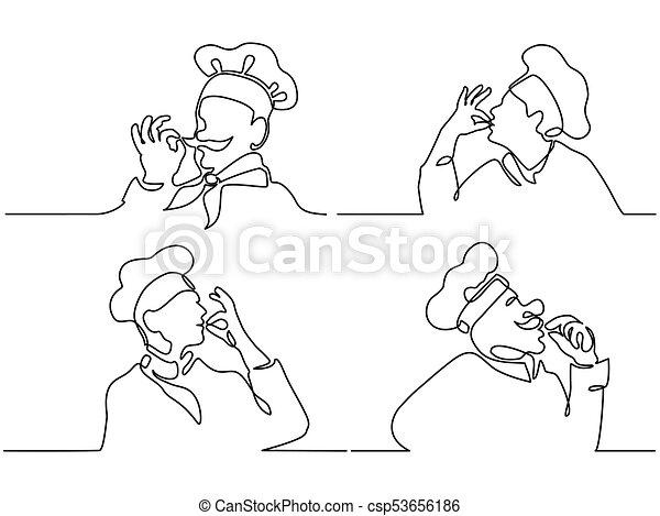 Set. Cook making tasty delicious gesture - csp53656186