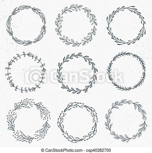 set, cornice, acquarello, hand-drawn, vettore, floreale, fatto - csp40382700