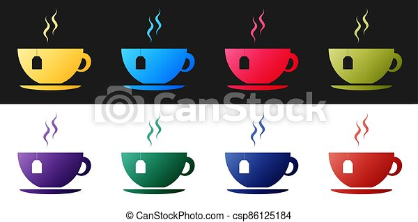 Set Cup with tea bag icon isolated on black and white background.  Vector - csp86125184