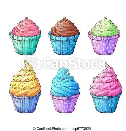 Set cupcakes. Vector illustration of hand drawing - csp67739201