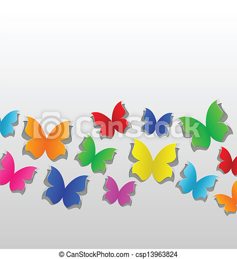 Set cut out colorful butterfly, grey paper - csp13963824