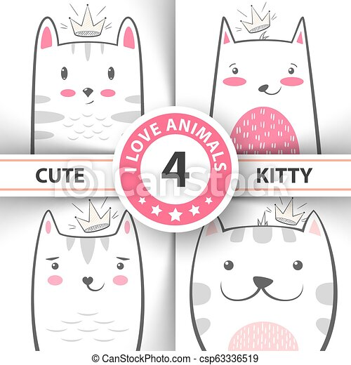 Set Cute Pretty Cat And Kitty Characters Hand Draw