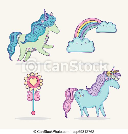 set cute unicorns with rainbow and clouds - csp69312762