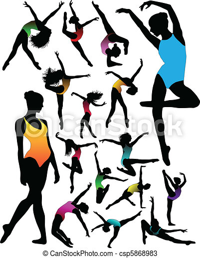 Set Dance girl ballet silhouettes - csp5868983