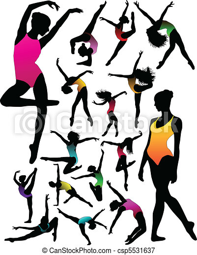 Set Dance girl ballet silhouettes  - csp5531637