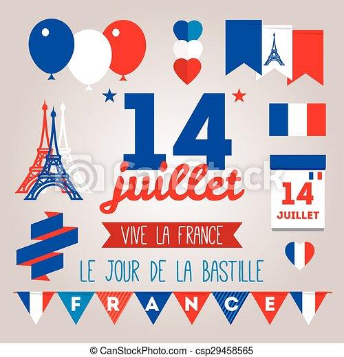 Set design elements for the bastille day 14 july. Stylish vector ...