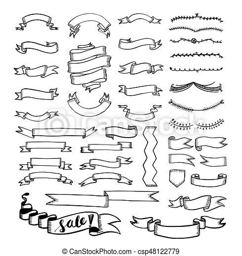 Set dessin ruban set vecteur dessin ruban illustration - Dessiner un ruban ...