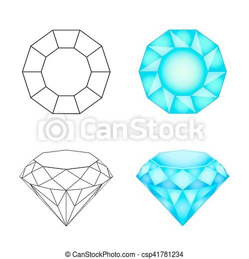 Set diamonds on a white background . Eps 10 Vector illustration - csp41781234
