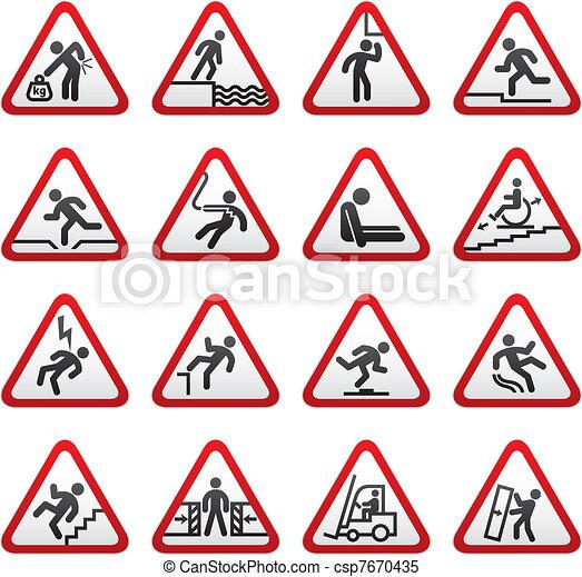 Set dimensional Warning Hazard Sign - csp7670435