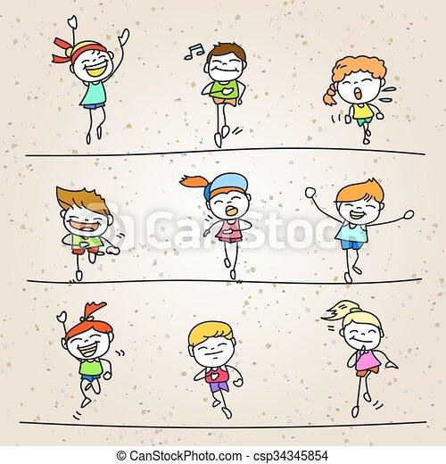 set, disegno, correndo, bambini, mano, cartone animato, maratona, felice