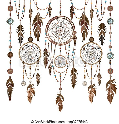 Dream Catchers With Beads Set dream catcher feathers beads cobweb Dream catcher eps 20