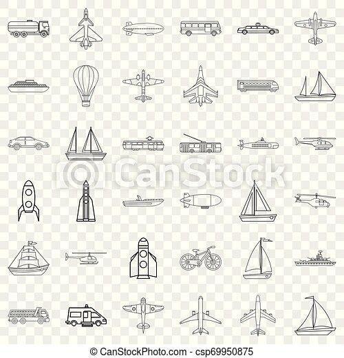 set, duikboot, stijl, schets, iconen - csp69950875