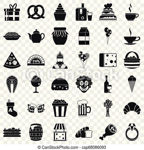 set, eenvoudig, stijl, bounty, iconen - csp68086093