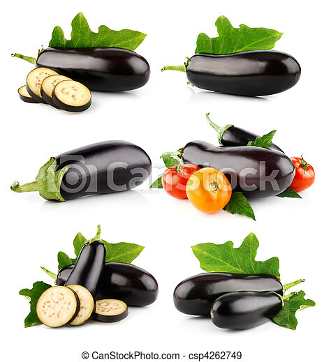 set eggplant vegetable fruits isolated on white - csp4262749