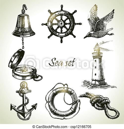 set, elements., hand, ontwerp, zee, nautisch, illustraties, getrokken - csp12166705