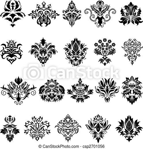 set, emblema, damasco - csp2701056